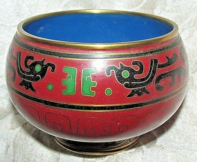 Antique Asian Cloisonne Brass FOOTED BOWL POT Mthyical Creatures 9CmW