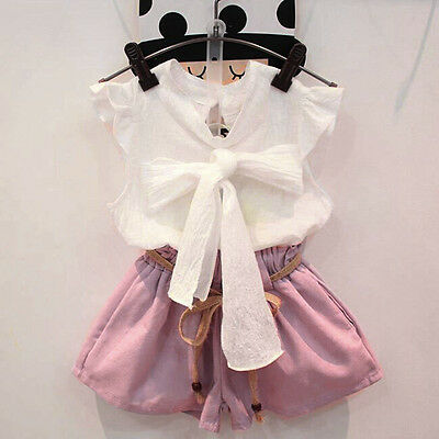 2PCS Kids Childrens Baby Girl Party Outfit Clothes Bowknot Tops Shirt+ Pants UK