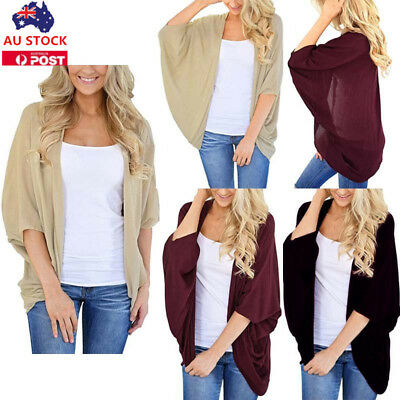 Plus Size Women 3/4 Sleeve Waterfall Cardigan Jacket Coat Beach Cover Up Tops