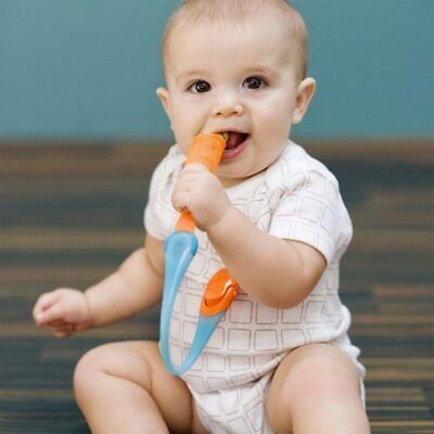 Boon Gnaw Teether Tether Rusk Baby Teething Holder Tangerine Blue