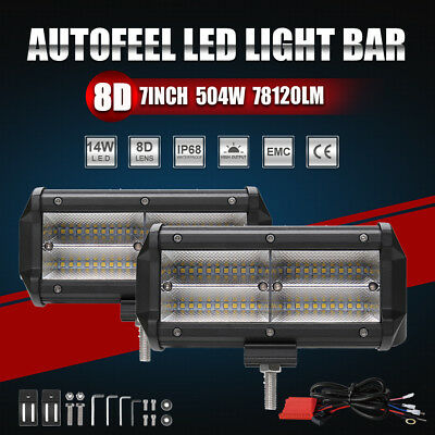Pair 7inch CREE LED Work Light Bar Spot Flood OffRoad Driving 4WD 4x4 Combo Beam