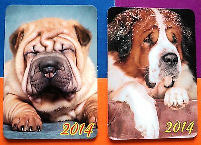 2 Russian Dogs Сane Shar Pei Cute Lovely Russia Pocket Calendar Puppy Rare 2014