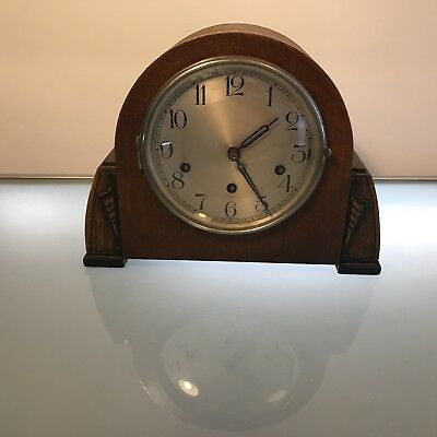 A Haller Art Deco Wooden Chiming Mantel Clock