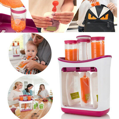 Infant Baby Food Feeding Station Fruit Maker Pouches Fresh Squeeze Storage Spoon