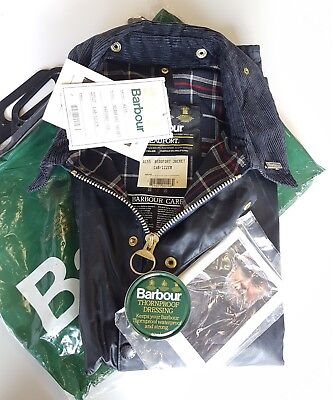 Barbour Beaufort Classic Vintage 80's Waxed Jacket Blue C48 122cm New With Tag