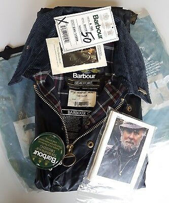 Barbour Beaufort Classic Vintage 80's Waxed Jacket Blue C44 112cm New With Tag