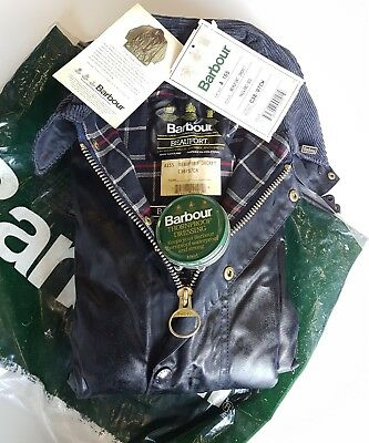 Barbour Beaufort Classic Vintage 80's Waxed Jacket Blue C38 97cm New With Tag