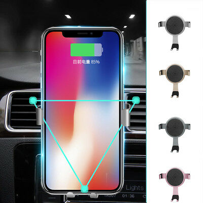 Qi Car Fast Wireless Charger Holder Cradle Mount For iPhone X 8 Plus Samsung S9+