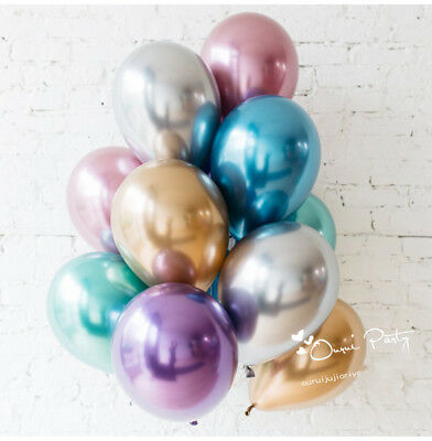 "10pc/lot 10"" Chrome Balloons Bouquet Birthday Party Decor Metallic Wedding Shiny"