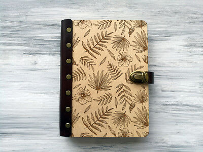 Wood Journal A5 Tropical Palm Leaves Wooden Notebook for Her Custom Sketchbook