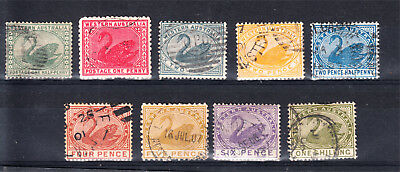 Western Australia 1885-12 Complete Swan Set To 1/- Used (H40)