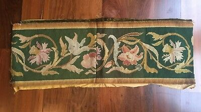 "Antique Aubusson Valance Piece - 12"" x 33.5"""