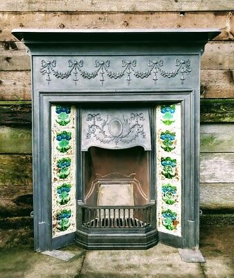 Victorian Complete Cast Iron Fireplace Tiles Mantle Bows & Garland Hood #F41