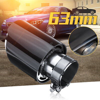63mm Carbon Fiber Stainless Car Rear Exhaust Pipe Trim Tip Muffler Universal