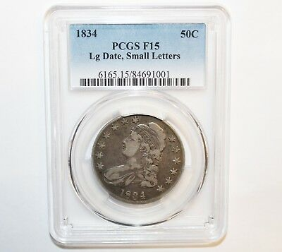 1834 50C Lg Date Small Letters Capped Bust Silver Half Dollar - Graded PCGS F15