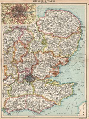ENGLAND EAST. Home Counties & East Anglia. Inset London. BARTHOLOMEW 1912 map