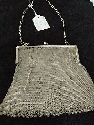 Vintage Sterling Silver Mesh Chain Link Purse/ Evening Bag  -1927 Full Hallmarks