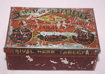 "Antique /Vintage -Rival Herb Tablets ""A True Family Medicine""   Tin/Can-"