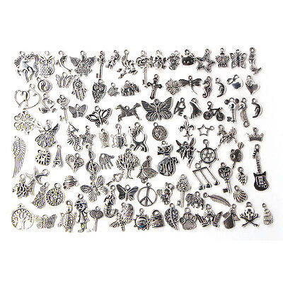 Wholesale 100pcs Bulk Lots Tibetan Silver Mix Charm Pendants Jewelry DIY Fad FG
