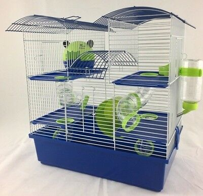 Abby Large Dwarf Hamster Small Pet Cage 3 Tier Pink & Purple, Blue & Lime