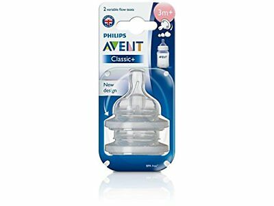 Philips AVENT 2 Count BPA Free Classic Nipple Variable Flow 3 months +