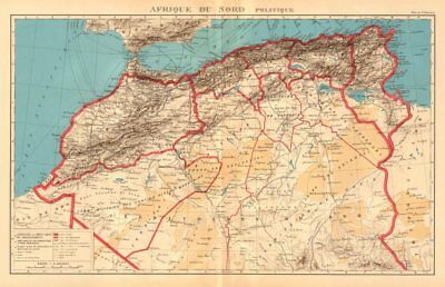 COLONIAL FRENCH NORTH AFRICA. Afrique du Nord. Politique. Political 1938 map