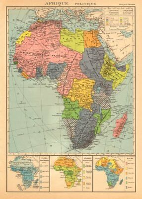 COLONIAL AFRICA Afrique. League of Nations Mandates. Ethnicity 1938 old map