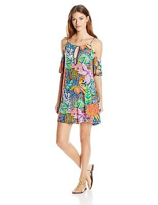 de18c6401c5c Trina Turk Women's Tropic Escape Off-The-Shoulder Tunic Cover up, Multi/
