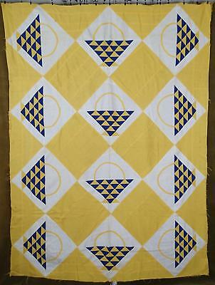 Charming Vintage 1930s Blue And Yellow Basket QUILT TOP 85x63