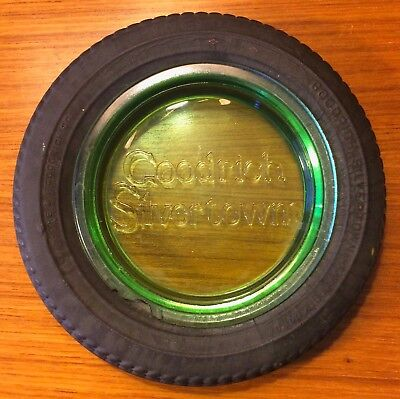 Vintage GOODRICH Silvertown 36 x 6 TIRE ASHTRAY  Advertising Tires GREEN GLASS