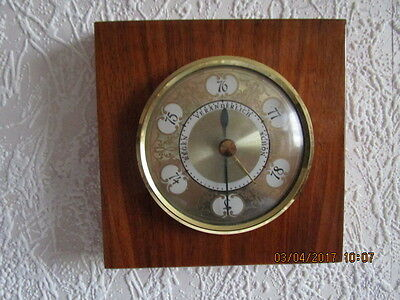 Altes Barometer, Thermometer in Echtholz. Eiche hell, poliert.