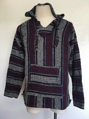 Vel Mex ~ Mexican Poncho ~ Pullover ~  w/ Hood ~ Striped ~ Surf/Skate/Indie ~ L