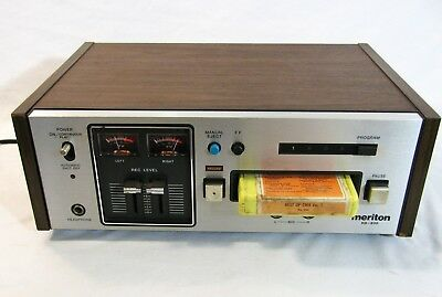 Vintage Meriton HD-830 8 Track Player Recorder Tested in Wood Case