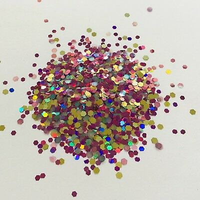 3g CHUNKY 2mm HOLOGRAPHIC FAIRY WING LARGE HEXAGON MULTI FESTIVAL GLITTER