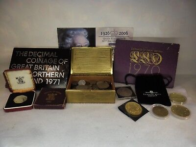 JOB LOT of British COINS: Proof Sets, Crowns & Tin Full of 570 Grams Coins