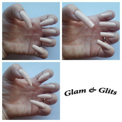 24 Hand Painted False Nails - Beige Extra Long Full Cover Gel Nails Tips