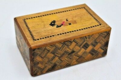 Vintage Inlaid Wood Puzzle Box Scotty Dog Puppy / Mt. Fuji - Marquetry Inlay