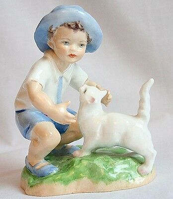Royal Worcester September Boy w/ White Cat Figurine 3457 Excellent Condition