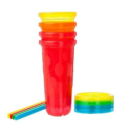Plastic Cups With Lids And Straws 10 Oz Spill-Proof 4 Pack