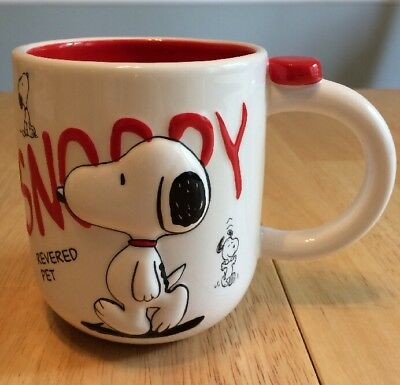 "Snoopy ""revered Pet"" Coffee Mug Cup Red Black White"