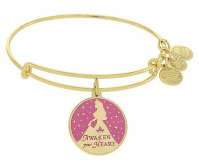 NEW Disney Parks ALEX AND ANI Aurora Awaken Your Heart Pink Enamel Gold Bracelet