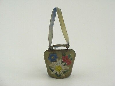 Vintage Brass Hand Painted Flowers Small Cow Bell Ringing Bell 1 1/2 inches Tall