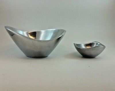 lot of (2) Nambe Tri-Cornered Bowl Vintage #526 & Butterfly Bowl #569b Polished