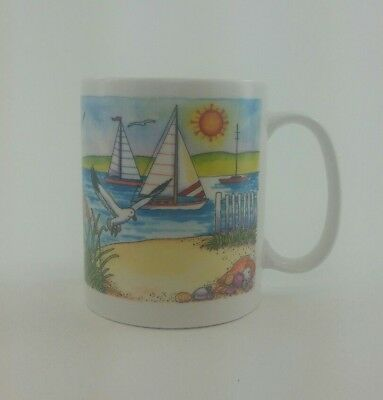 American Gift Collector Series Ceramic Hand Painted Mug lighthouse beach seagull