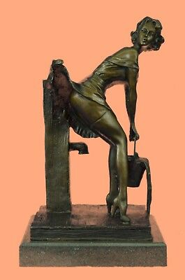 bronze statue art deco girl bronze sculpture signd PREISS Hot Cast Figurine