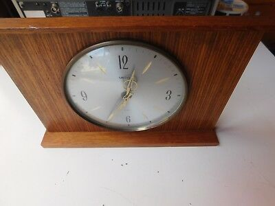 Vintage Smiths Wooden Mantle Clock 8 day floating balance Wind Up Movement 1950s