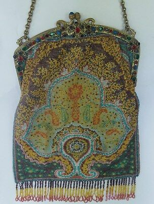 Fab Micro Bead Paisley Design Purse, Jeweled Frame With Kid Leather Lining