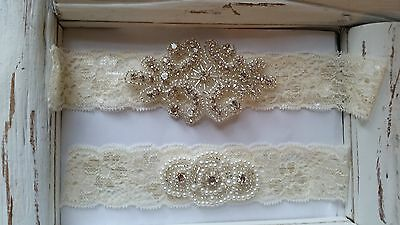 Wedding Garter, Rhinestone Garter Set,   Ivory Lace, Keepsake & Toss Garter