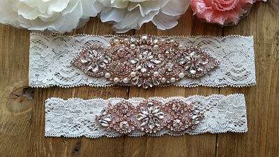 Wedding Garter,Rose Gold Rhinestone Garter Set, Ivory Lace, Keepsake&Toss Garter