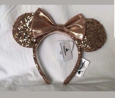 Disney Parks Rose Gold Minnie Mouse Ears Headband New with Tags